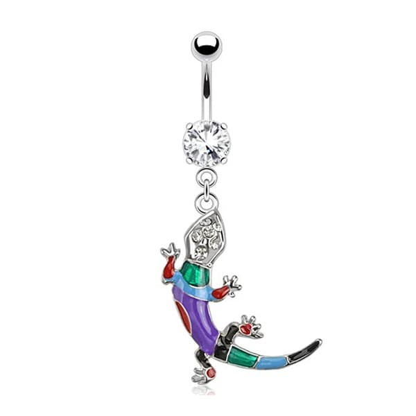Lizard Multi Colored Epoxy with Gems Dangle Navel Belly Button Ring 316L Surgical Steel