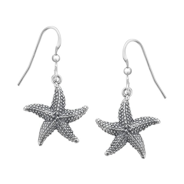 Kabana Starfish Dangle Earrings in Sterling Silver - White