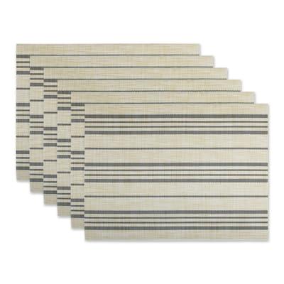 DII French Blue Farmhouse Stripe PVC Woven Placemat