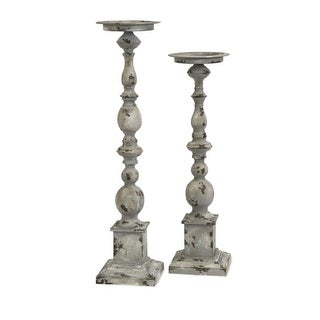 Set of 2 Distressed Finial Pedestal Pillar Candle Holders