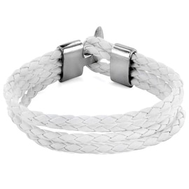 White Braided Leather Multi Strap Bracelet (Sold Ind.) (15 mm) - 8 in