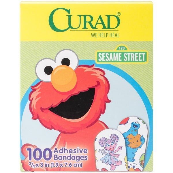 "Kids Adhesive Bandages 3.75""X3"" 100/Pkg-Sesame Street"