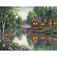 """Gold Collection Cabin Fever Counted Cross Stitch Kit-16""""X12"""" 18 Count"""