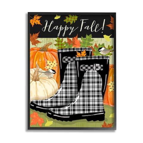 Stupell Industries Happy Fall Phrase Black Rainboots and Pumpkins Framed Wall Art