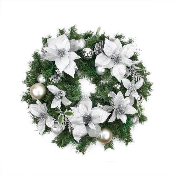 Silver Poinsettia and Pinecone Artificial Christmas Wreath - 24-Inch, Unlit