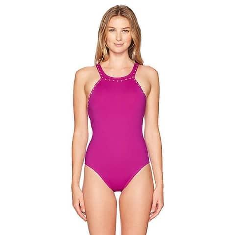 La Blanca Women's High-Neck One Piece Swimsuit, Magenta/Gold Sz: 6