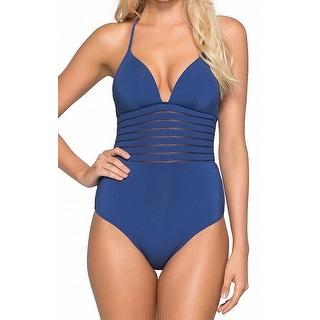Jets by Jessika Allen Blue Womens Size 12 One-Piece Swimsuit