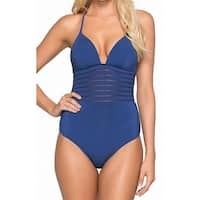Jets by Jessika Allen Blue Womens Size 12 One-Piece Swimsuit
