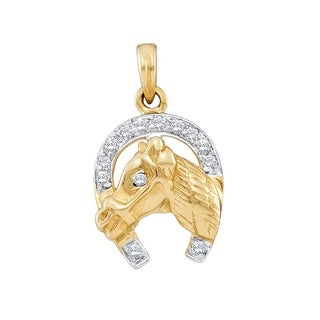 Horse Shoe With Horse Pendant 10K Yellow Gold With Diamonds 0.10Ctw By MidwestJewellery - White