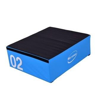 Gymax 12'' PVC Soft Foam Jumping Box Plyometric Exercise Fitness Blue