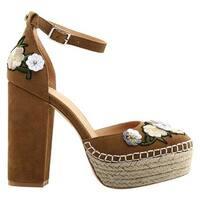 Bill Blass Women's Ellie Ankle Strap Sandal Buckthorn Suede