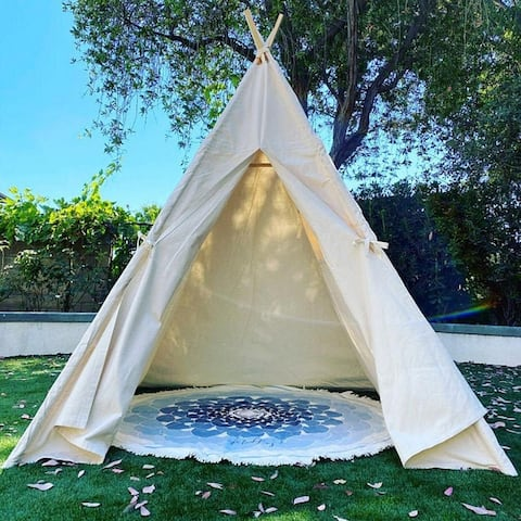8 Ft Super Large OffWhite Kid's Teepee Tent for Indoor And Outdoor - 1pc