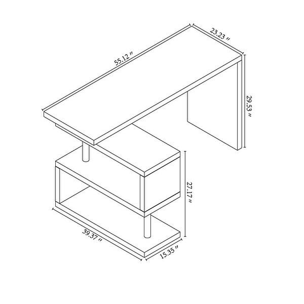 Contemporary Convertible L-shaped Corner Computer Office Desk 29.53'' H x 23.23'' W x 78.74'' D - White