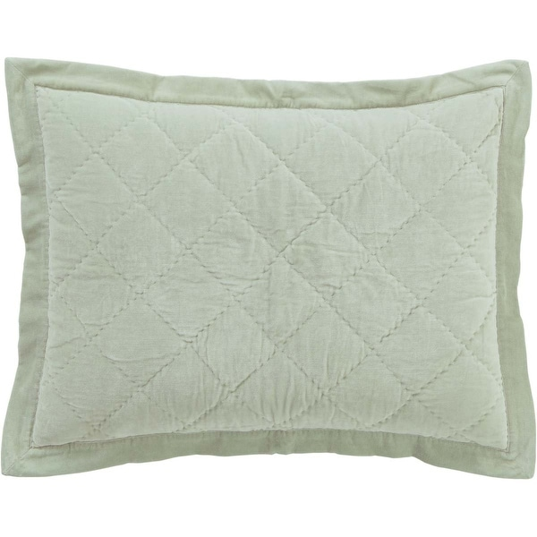 VHC Brands Lydia Cotton Standard Sham with Tie Closures, Sea Glass