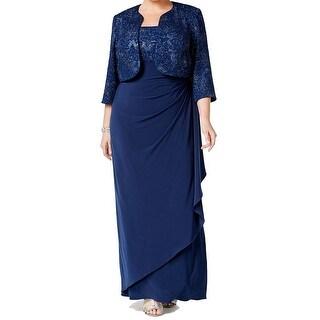Alex Evenings Plus Size Glitter Empire Waist Evening Gown & Jacket Set - 16W