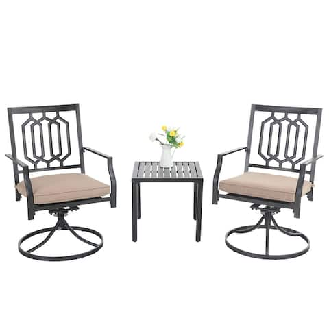 PHI VILLA 3-Pcs Outdoor Dining Set: Steel Swivel Dining Chair with Cushion and Black Small Metal Square Coffee Table