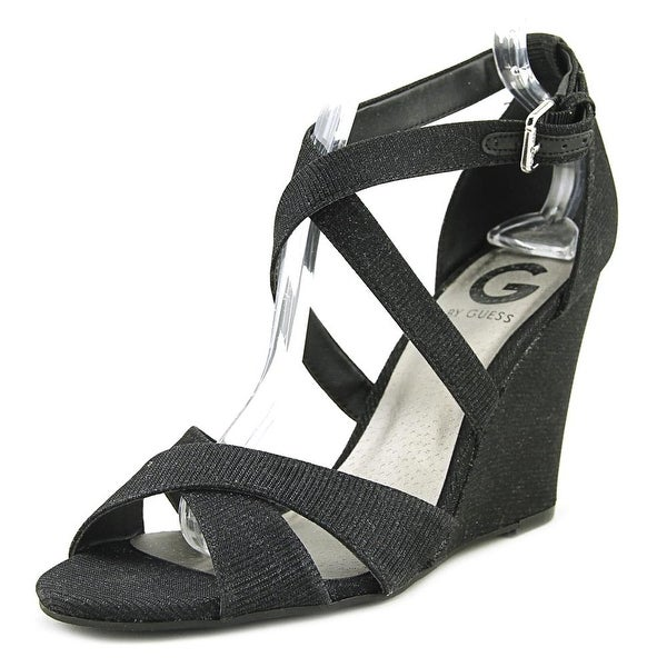 G By Guess Harpee Women Open Toe Canvas Black Wedge Sandal