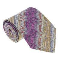 Missoni U4918 Fuschia/Gold Flame Stitch 100% Silk Tie - 60-3