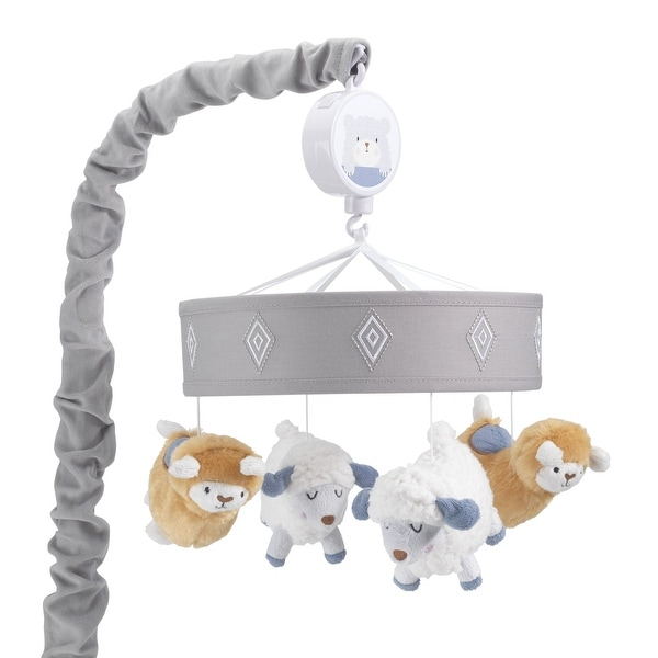 Lambs & Ivy Happi by Dena™ Little Llama and Sheep Gray/White Musical Baby Crib Mobile