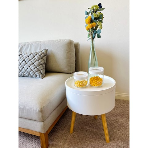 Zoe Mid-Century Modern Round Accent Side End Table with Storage