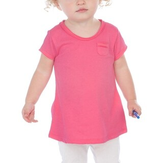 Kavio! Infants Sheer Jersey Double Raw Edge Scoop Neck Penny Pocket Short Sleeve