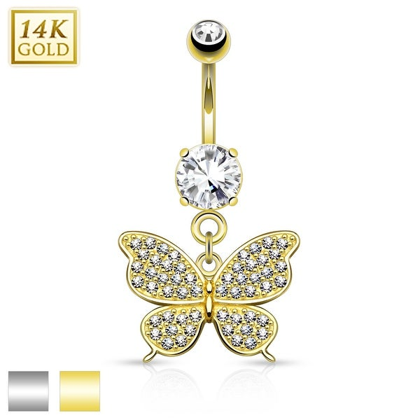14Kt Gold Butterfly Dangle with Micro Pave CZ Belly Button Navel Ring - 14GA (Sold Ind.)