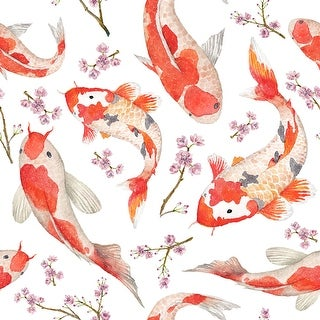Hand Drawn fishes and Blossom cherry Removable Wallpaper - 24'' inch x 10'ft