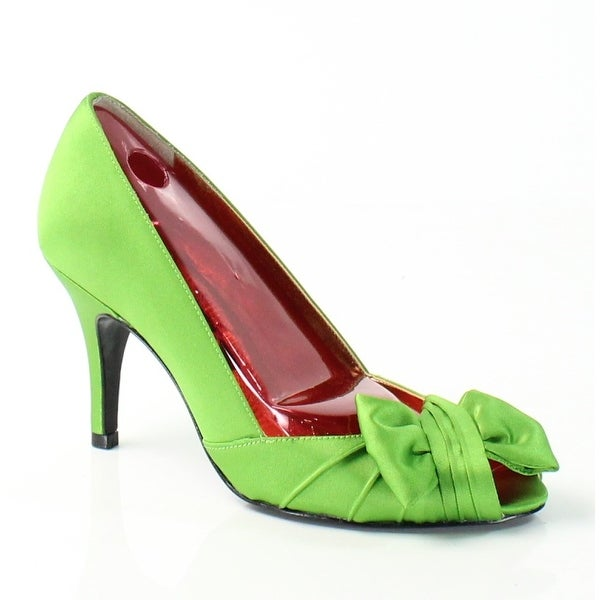 Nina NEW Green Forbes Shoes Size 5M Slip Ons Open Toe Heels