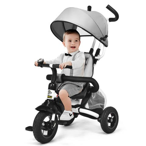 Baby Tricycle 6-in-1 Foldable Steer Stroller Adjustable Canopy Grey
