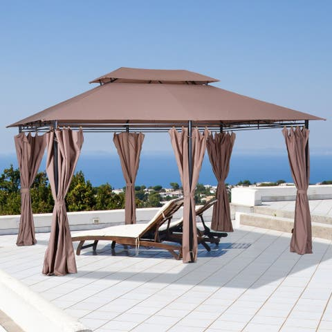 Outsunny 2-tier Steel Garden Gazebo with Vented Soft Top Canopy