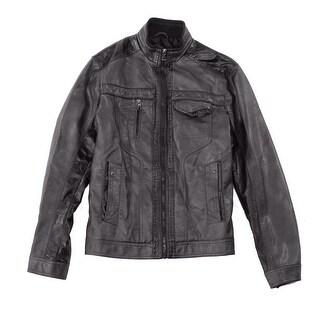 INC NEW Brown Mens Size 2XL Mock-Neck Full-Zip Motorcycle Jacket