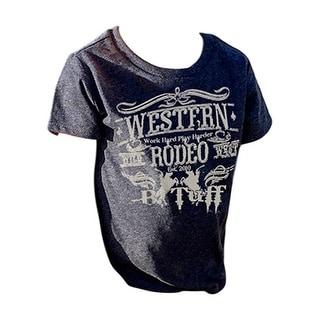 B. Tuff Western Shirt Boys Short Sleeve Tee Crew Rodeo Navy S00856