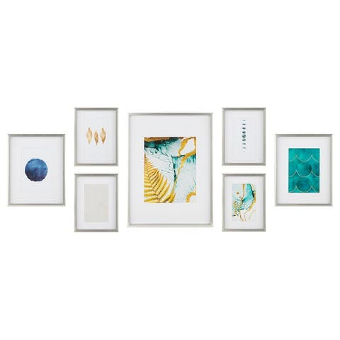 7 Piece Gallery Wall Frame Set with Decorative Art & Hanging Template