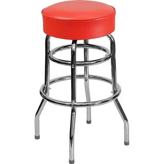 """Dyersburg 30"""" High Double Ring Chrome Barstool with Red Seat"""