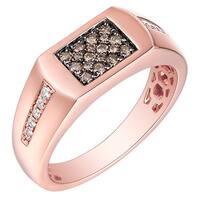 Prism Jewel 0.41Ct SI1 Brown Diamond & G-H/I1 Natural Diamond Men's Anniversary Ring
