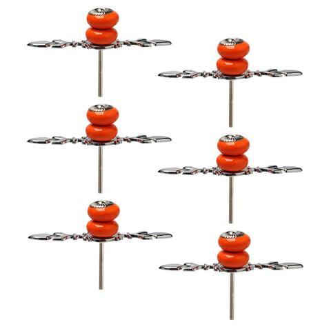 Ceramic Knobs Pull Handle Wardrobe Drawer Cupboard Cabinet Accessory 6pcs Orange