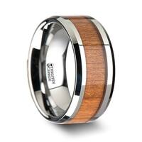 THORSTEN - BRUNSWICK Tungsten Wedding Ring with Polished Bevels and Black Cherry Wood Inlay - 10mm