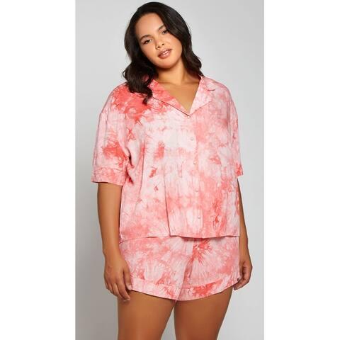 Plus Size Ride Or Dye Pajama Set - Pink - 1X