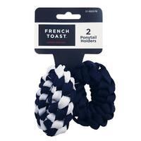 French Toast Girls 2-Piece Braided Shoelace Ponytail Holder