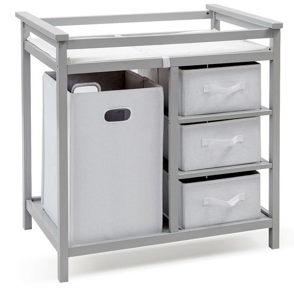 Shop Costway Gray Infant Baby Changing Table W 3 Basket