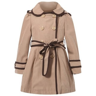 Richie House Little Girls Apricot Brown Trim Flared Top Coat 5-7