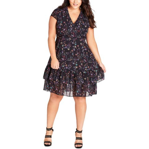 City Chic Womens Plus Cocktail Dress Floral V Neck