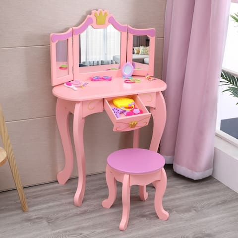Children's Dressing Table 3-Foldable Mirror/Chair/Single Drawer