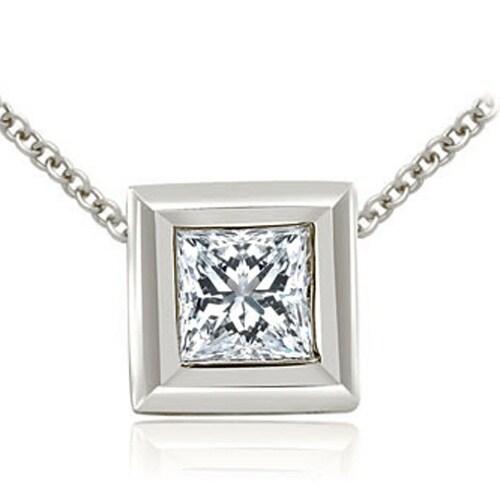 0.75 cttw. 14K White Gold Princess Cut Diamond Bezel Solitaire Pendant - White H-I