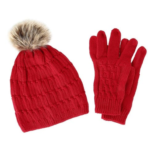 CTM® Women's Knit Beanie Hat with Pom and Matching Gloves Set - one size