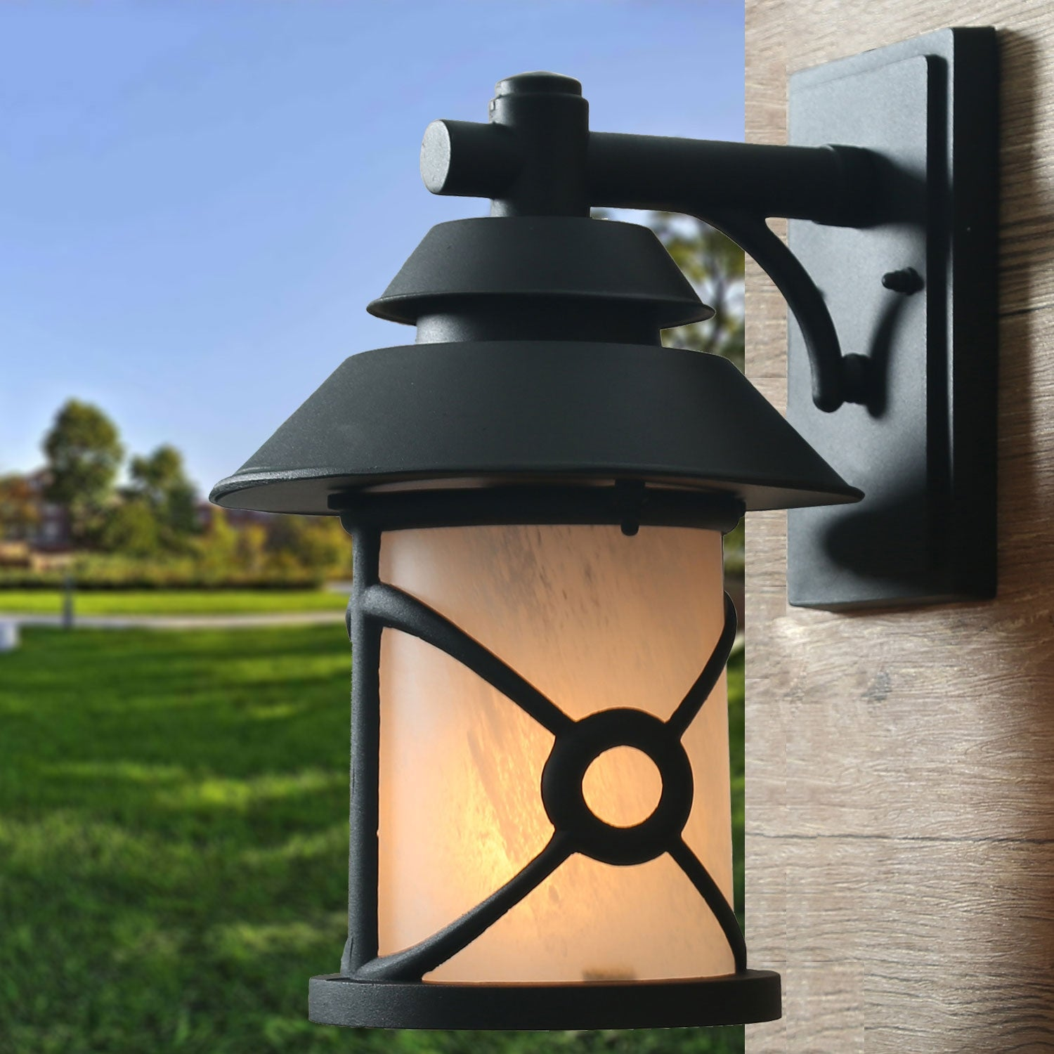 Image of: Shop Black Friday Deals On Hawke S Bay Farmhouse 1 Light Outdoor Wall Lantern Glass Shade Wall Sconce D9 X10 6 Xh13 4 Overstock 28582964