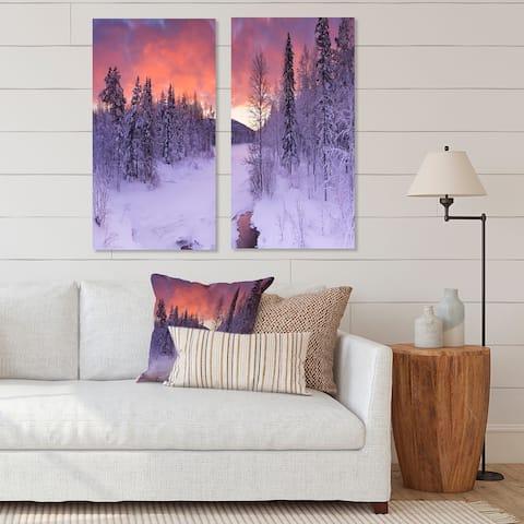 Designart 'Finnish Lapland Trees in Winter' Landscape Canvas Wall Art Print 2 Piece Set