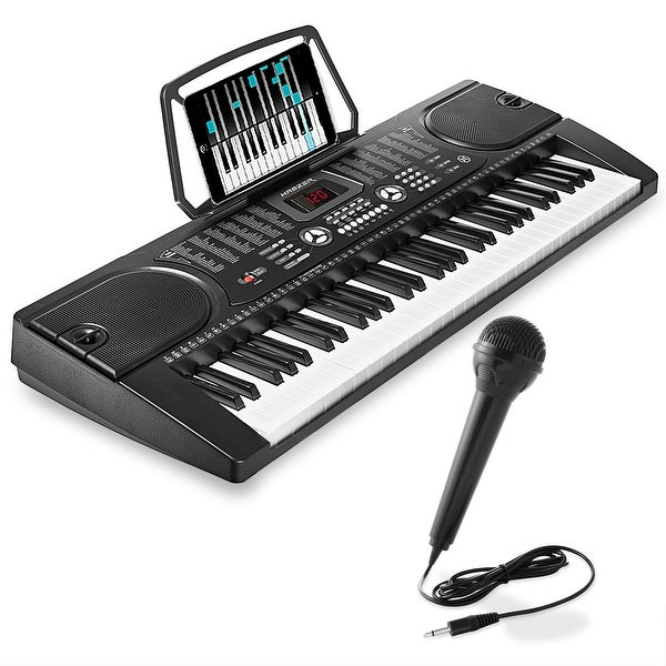 shop 61 key digital music piano keyboard portable electronic musical instrument black free. Black Bedroom Furniture Sets. Home Design Ideas