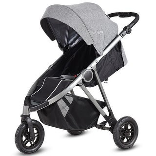 Portable Folding Aluminum Baby Stroller Buggy Kids Travel Pushchair City Jogger - black + grey