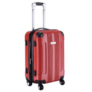GLOBALWAY Expandable 20'' ABS Luggage Carry on Travel Bag Trolley Suitcase Red